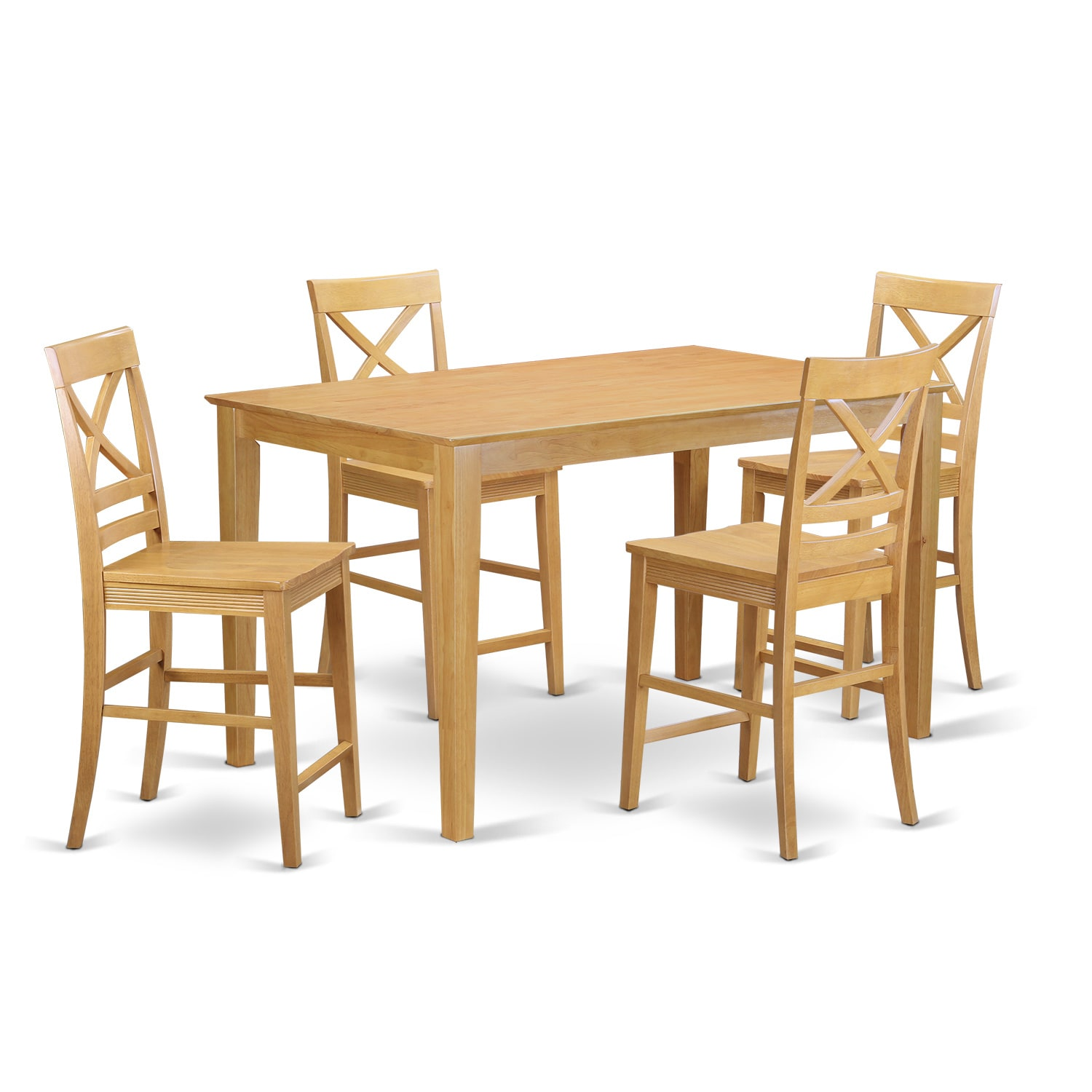 Oak Finish Rubberwood 5-piece Dining Room Pub Set with Co...