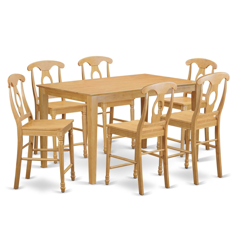 Oak Finish Rubberwood 7-piece Dining Room Pub Set with Ta...