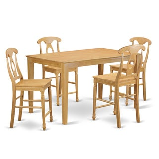 Oak Finish Rubberwood 5-piece Dining Room Pub Set with Counter Height Table and 4 Chairs