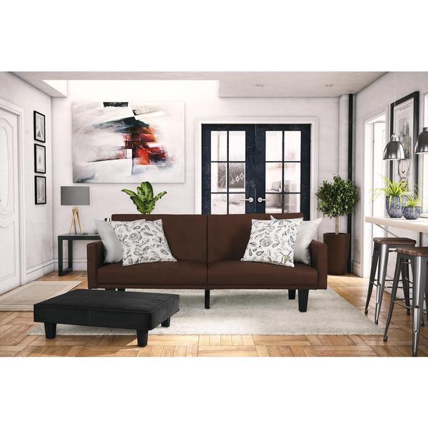 Shop dhp metro brown microfiber split futon free shipping today 12022934 for Futon decorating living room