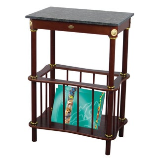 Uniquewise Green Marble/Cherry Wood End Table With Newspaper Holder