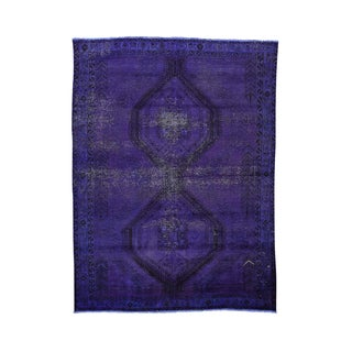 Persian Hamadan Overdyed Purple Hand-knotted Rug (6'1 x 8'1)