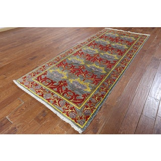 William Morris Grey Wool Hand-knotted Oriental Rug (4' x 9'6)