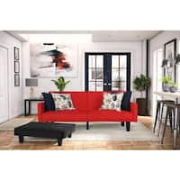 DHP Metro Red Microfiber Futon with Storage Pockets
