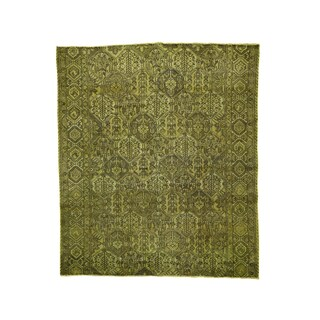 Green Wool Persian Bakhtiar Over-dyed Hand-knotted Fragment Rug (7' x 8')