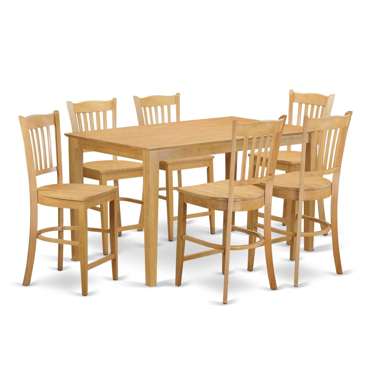 Oak Finish Rubberwood 7-piece Dining Room Pub Set with Co...