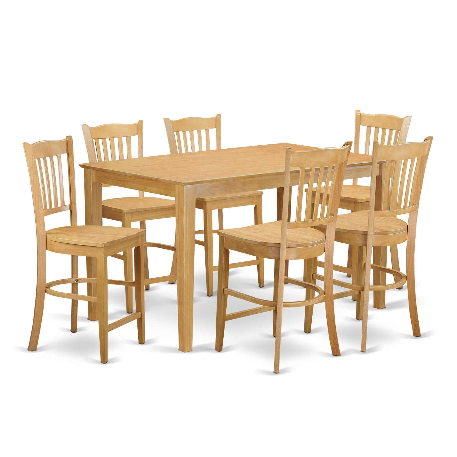 Superb Oak Finish Rubberwood 7 Piece Dining Room Pub Set With Co.