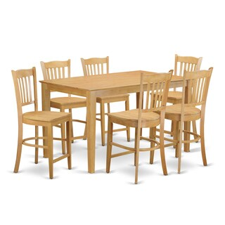 Oak Finish Rubberwood 7-piece Dining Room Pub Set with Counter Height Table and 6 Chairs