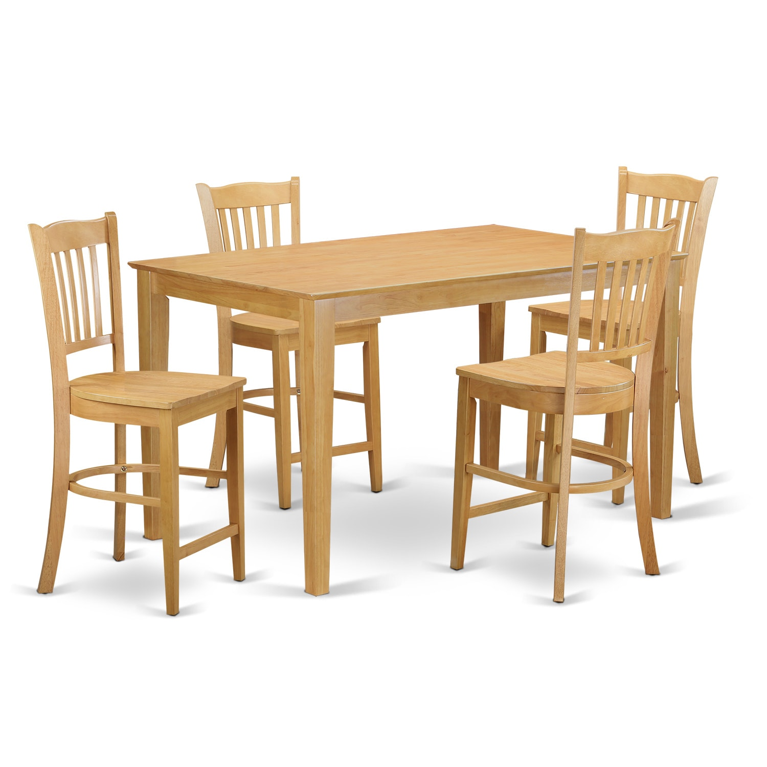 5-piece Natural-colored Rubberwood Counter-height Pub Set...