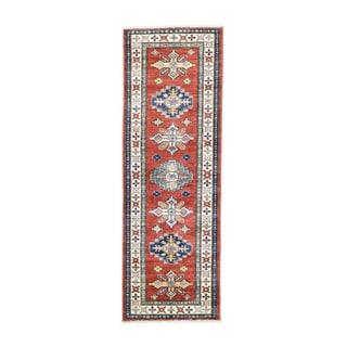 Red Super Kazak Hand-knotted Tribal Design Runner Rug (2'1 x 6'1)