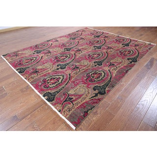 Multi-colored Wool Hand-Knotted Oriental Suzani Rug (7'10 x 10'1)