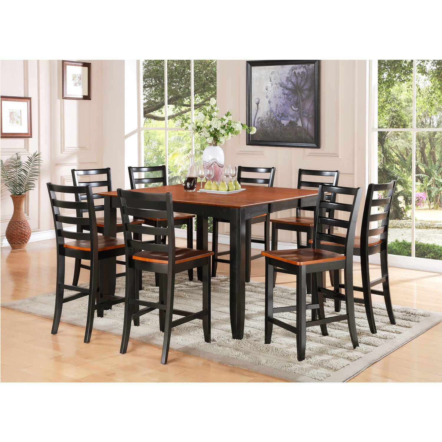 FAIR9-BLK-W Black Rubberwood 9-piece Counter-height Table...