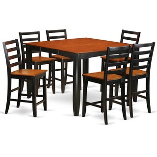 FAIR7-BLK-W Black/Cherry Rubberwood 7-piece Counter Height Table and Chair Set