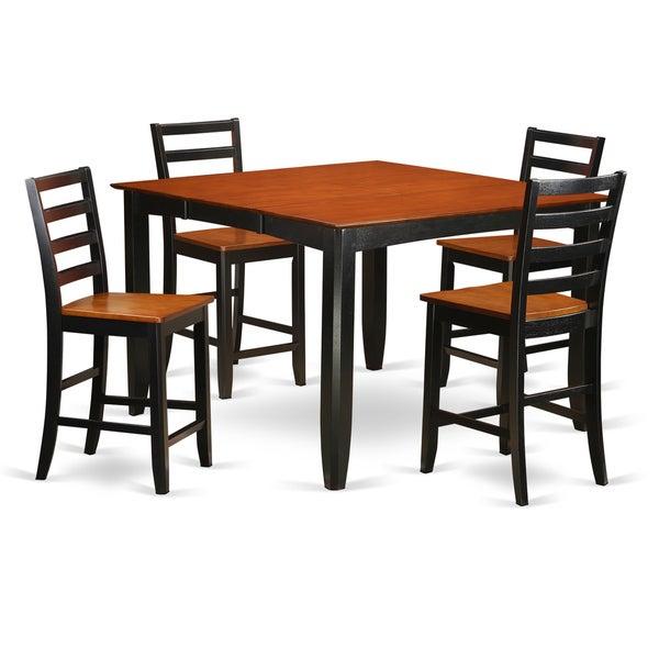 Ashland Black Counter Height 5 Piece Dining Set: FAIR5-BLK-W Black Rubberwood Counter-height 5-piece Dining