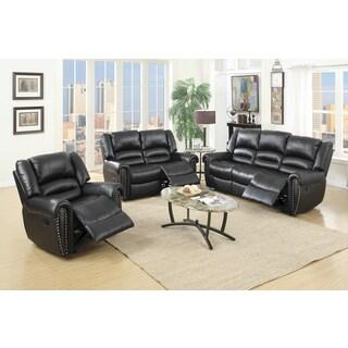 Velenje Black/Brown Bonded leather/Wood/Metal/Plastic 3-piece Living Room Set