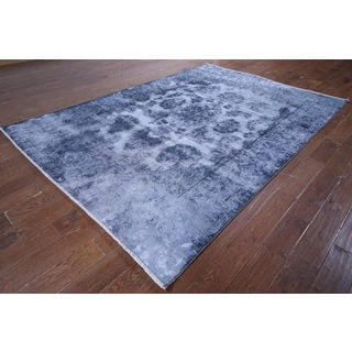Oriental Overdyed Blue Wool Hand-knotted Area Rug (6'7 x 9'4)