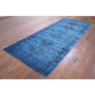 Oriental Overdyed Blue Hand-knotted Wool Rug (3'10 x 9'4)