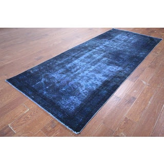 Hand-knotted Blue Wool Oriental Overdyed Rug (3' 10 x 9' 5)