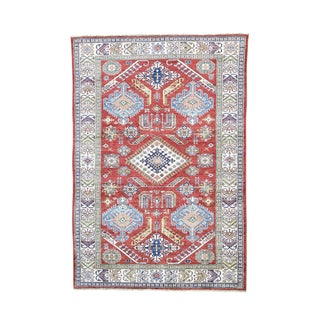 Super Kazak Tribal and Geometric Design Handmade Wool Rug (6' x 8'7)
