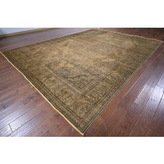 Oriental Over-dyed Brown Hand-knotted Wool Rug (9'9 x 12'10)