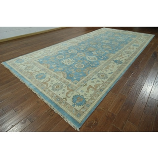 Oriental Oushak Blue Hand-knotted Wool Rug (7'11 x 16'6)