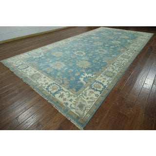 Blue Wool Hand-knotted Oriental Oushak Rug (8'10 x 17'10)