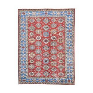 Super Kazak Geometric Design Hand-knotted Rug (10'6 x 14'2)