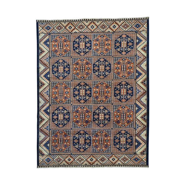 Blue/Brown Wool Afghan Ersari Garden Design Hand-knotted Rug (9'3 x 12'3)