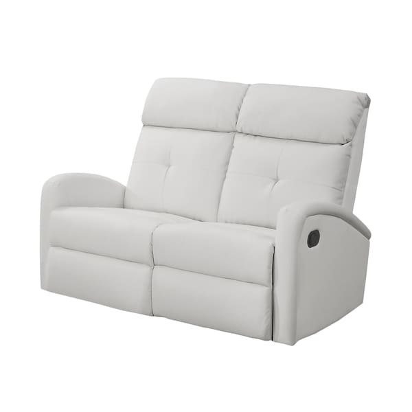 White Leather Sofa And Loveseat: Monarch White Bonded Leather Reclining Loveseat