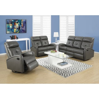 Monarch Charcoal Grey Bonded Leather Reclining Sofa