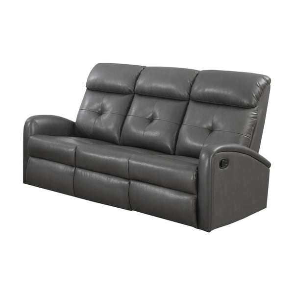 Monarch Charcoal Grey Bonded Leather Reclining Sofa Free