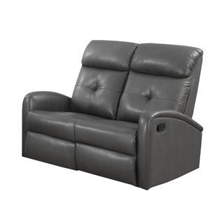 Charcoal Grey Bonded Leather Reclining Loveseat