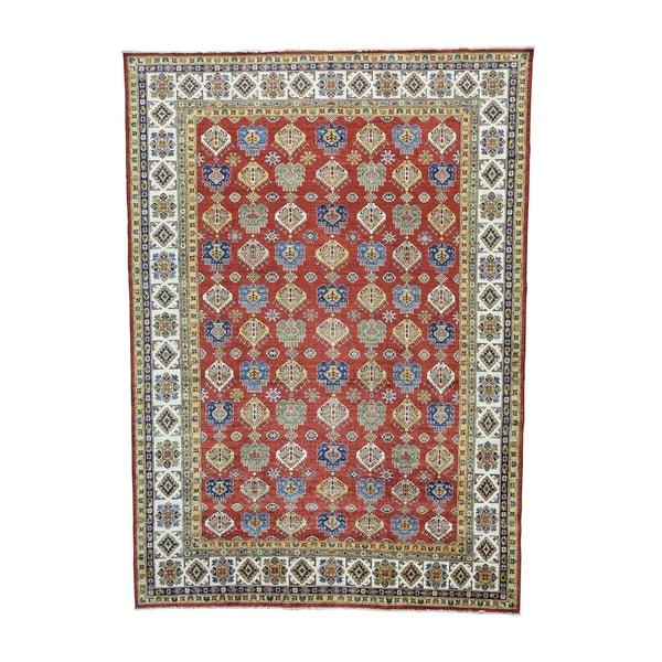 Tribal Design Super Kazak Hand-knotted Rug (9'2 x 12'8)