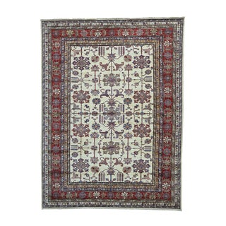 Super Kazak Ivory Hand-knotted Pure Wool Rug (9'1 x 12'2)
