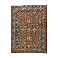 Pure Wool Antiqued Heriz Design Hand-knotted Rug (9'3 x 12'2)