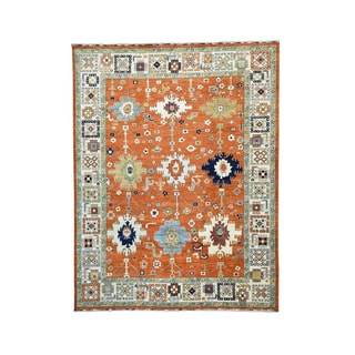 Orange/Multicolor Pure Wool Antiqued Mahal Handmade Rug (9' x 11'8)