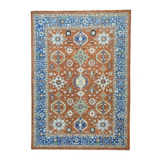 Karajeh Rust Red Pure Wool Antiqued Hand-knotted Rug (10' x 14')