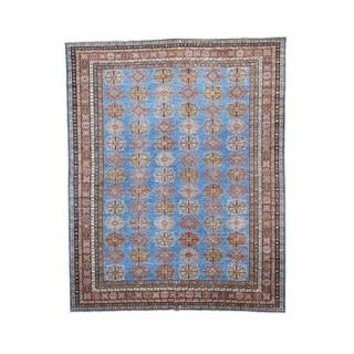 Super Kazak Denim Blue Geometric Design Handmade Rug (10'4 x 12'10)