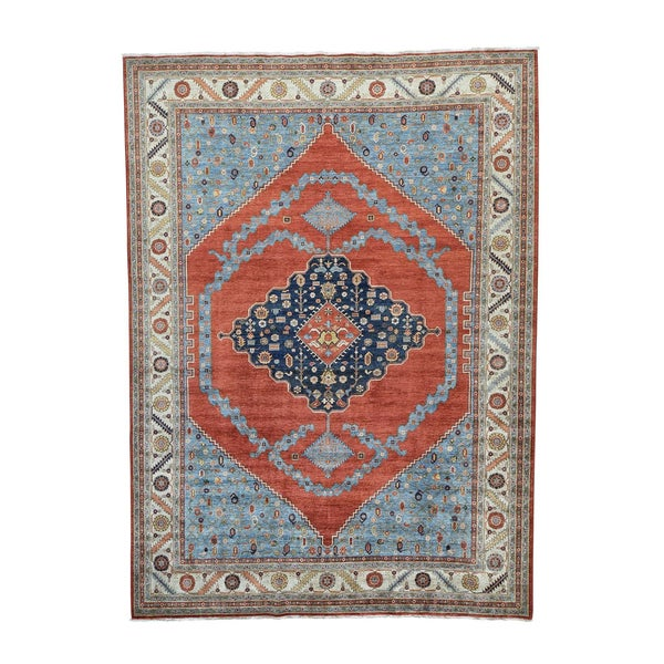 Antiqued Bakshaish Vegetable-dyed Hand-knotted Rug (10' x 13'9)