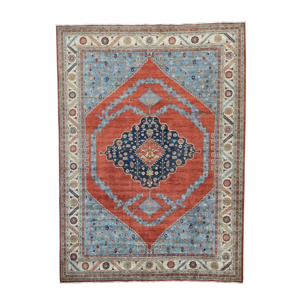 Antiqued Bakshaish Vegetable-dyed Hand-knotted Rug - 10' x 13'9