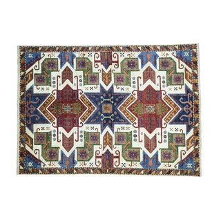 Colorful Pure Wool Star Kazak Hand-knotted Rug (8'7 x 12'1)