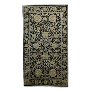 Black Wool Rajasthan Hand-knotted Rug (10'2 x 18'3)