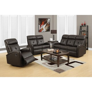 Dark Brown Bonded Leather Reclining Sofa