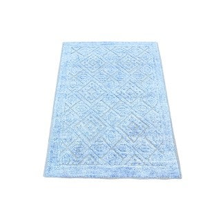 Blue Bamboo Silk With Oxidized Wool Cast Hand-knotted Rug (2' x 3'1)