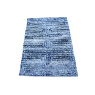 Viscose from Bamboo Silk With Oxidized Wool Hand-knotted Rug (1'10 x 3')