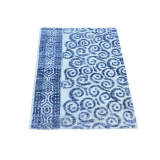 Denim Blue Viscose from Bamboo Modern Hand-knotted Rug (2' x 3'1)