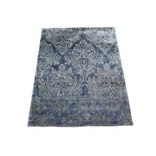 Damask Modern Viscose from Bamboo Hand-knotted Rug (2' x 3')