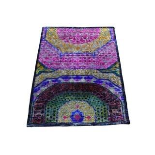 Abc Accents Handmade Textured Sari Silk Black Wool Area