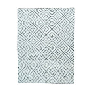 Geometric-design Silk with Oxidized Wool Handmade Rug (9' x 12')