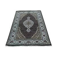 Wool and Silk Tabriz Mahi Hand-knotted Rug (3' x 5'2)